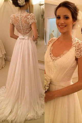 Cap Sleeve V Neck Lace See Through Beach Bridal Gowns Wedding ...