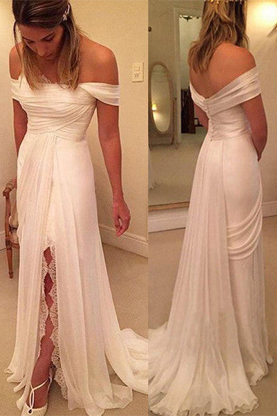 Sexy Backless Off the Shoulder Slit Sheath Cheap Beach Bridal Gowns Wedding Dresses LD320