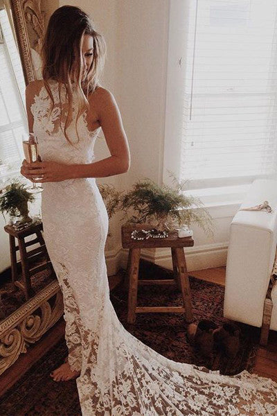 Hot Sales High Neck White Lace Elegant Mermaid Bridal Gowns Wedding Dresses LD321