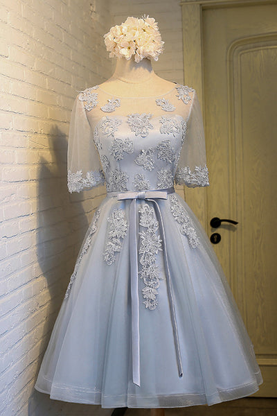 Half Sleeves Light Blue Lace Short Homecoming Dresses Prom Gowns Graduation Dress LD323