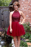 Homecoming Dresses Burgundy Backless Short Prom Dresses Graduation Gowns LD325