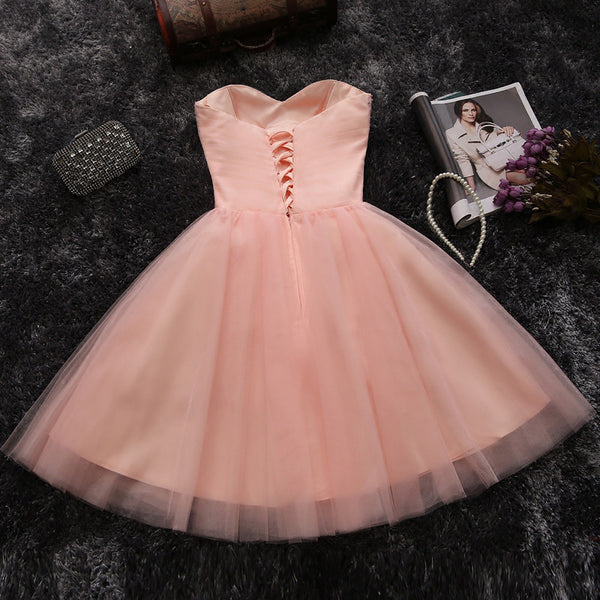 Sweetheart Blush Pink Tulle Beaded Short Prom Dress Homecoming Dresses Party Gowns LD328