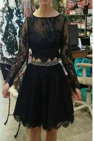 be022f4150 2 Pieces Long Sleeves Black Lace Short Prom Dresses Homecoming Dress –  Laurafashionshop