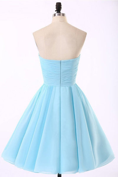 Empire Waist Light Blue Strapless Short Prom Dresses Homecoming Dresses Party Gowns LD331