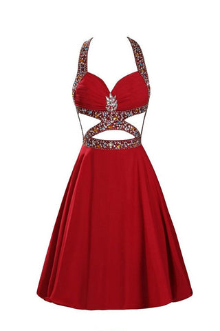 Sexy Open Back Halter Beaded Red Prom Dress Homecoming Dresses Party Gowns LD332