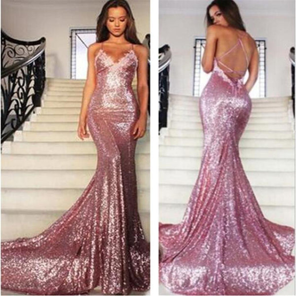 Shiny Rose Pink Sequin Mermaid Spaghetti Straps Backless Evening Prom Dresses Party Dress LD333