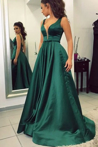 Open Back Dark Green Deep V Neck Elegant Cheap Evening Prom Dresses Party Gowns Dress LD334