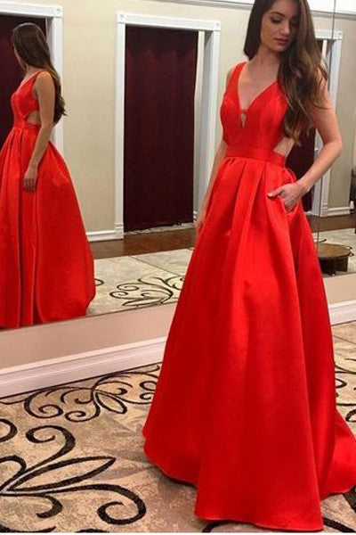 V Neck Off the Shoulder Red Backless Cheap Evening Prom Dresses Party Gowns With Pocket LD336