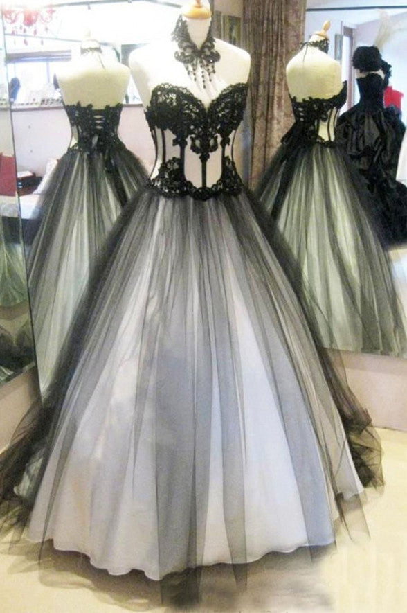Sweetheart Black Lace White Prom Dresses Evening Gowns Quinceanera Dress LD337