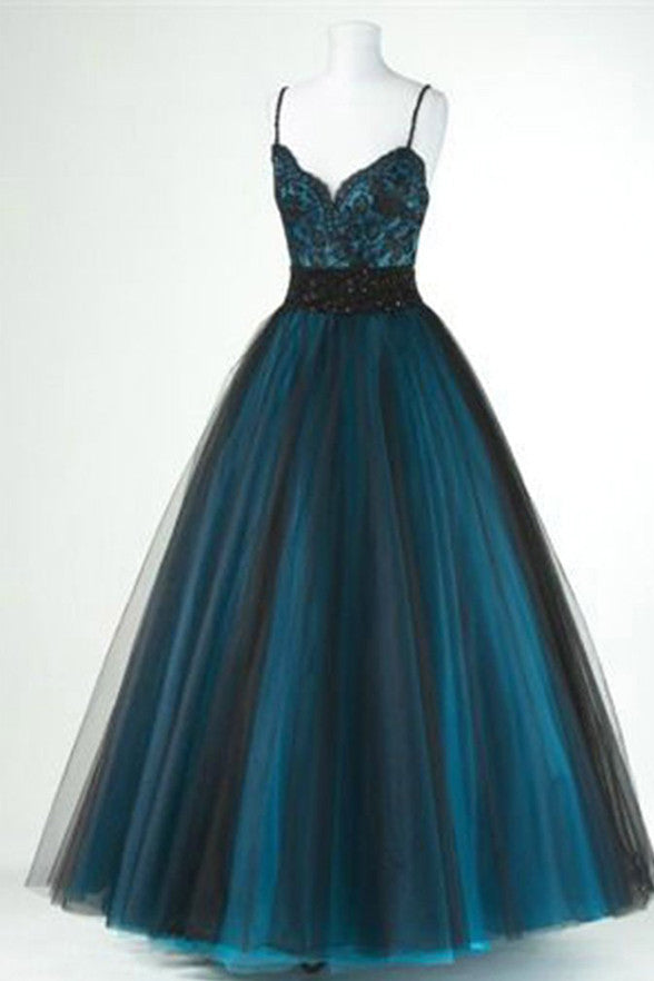 Black/Green Spaghetti Straps High Quality Prom Dress Evening Gowns Quinceanera Dresses LD338