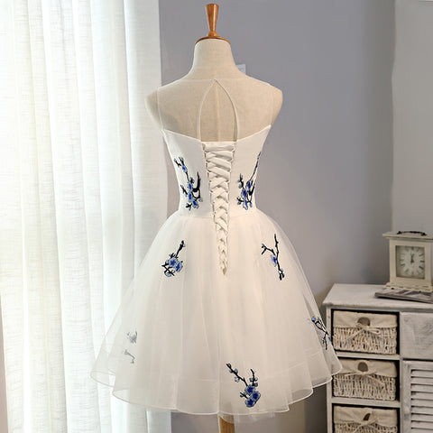 New Embroidery Flowers Cheap Short Homecoming Dress Prom Dresses ...