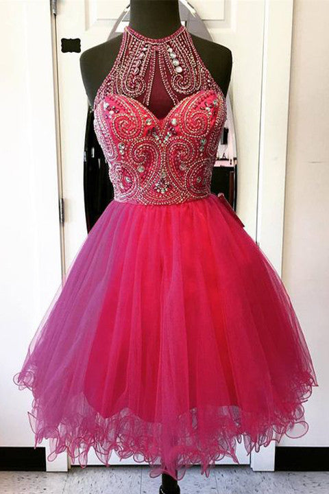 Hot Pink Tulle Beaded High Neck Mini Length Cute Homecoming Dress Prom Dresses LD342