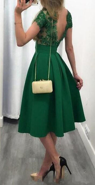 Cap Sleeves Green Lace Backless Short Homecoming Dresses Prom Gowns Graduation Dress LD344