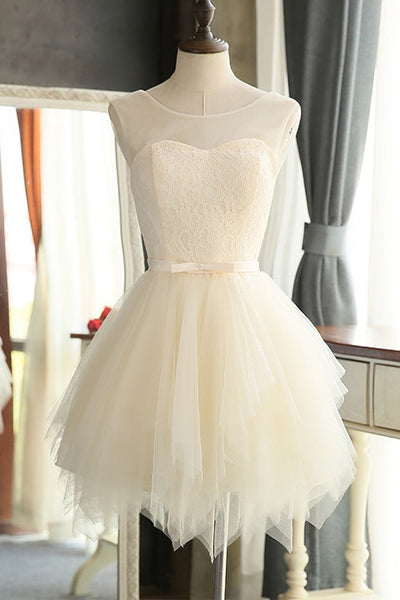 Tiered Skirt Lace Cute Cheap Homecoming Dresses Short Prom Dresses Party Gowns  LD345