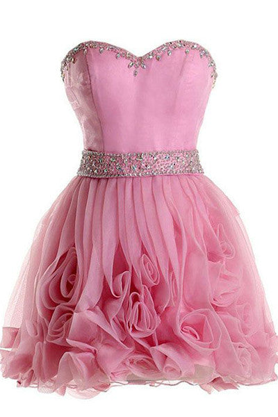 Hot Pink Cute Homecoming Dresses Mini Length Prom Dresses Party Gowns LD346