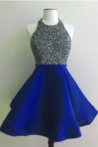 Royal Blue Open Back Short Homecoming Dresses Prom Dress Party Gowns ...