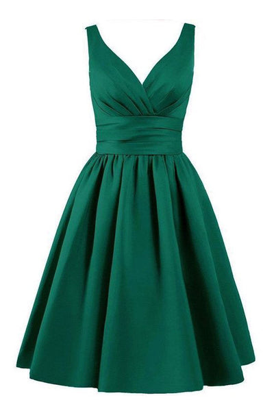 Off the Shouder V Neck Green Elegant Short Homecoming Dresses Prom Cocktail Dress LD348
