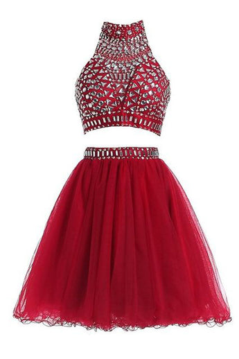2 Pieces Burgundy High Neck Rhinestone Short Prom Dress Homecoming Dresses LD350