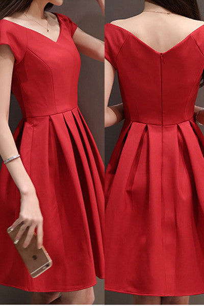 Red Short Sleeves Elegant Homecoming Dresses,Short Prom Dress Graduation Dresses LD351