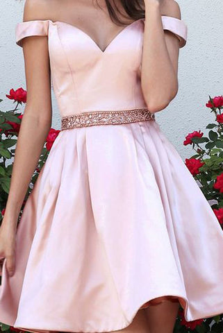 Drop Sleeves Pink Satin Short Prom Dress Homecoming Dresses Party Gowns With Beaded Belt LD352