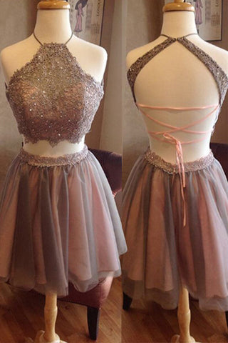 Halte Open Back Grey Lace 2 Pieces Short Prom Dresses Homecoming Dress Party Gowns LD353