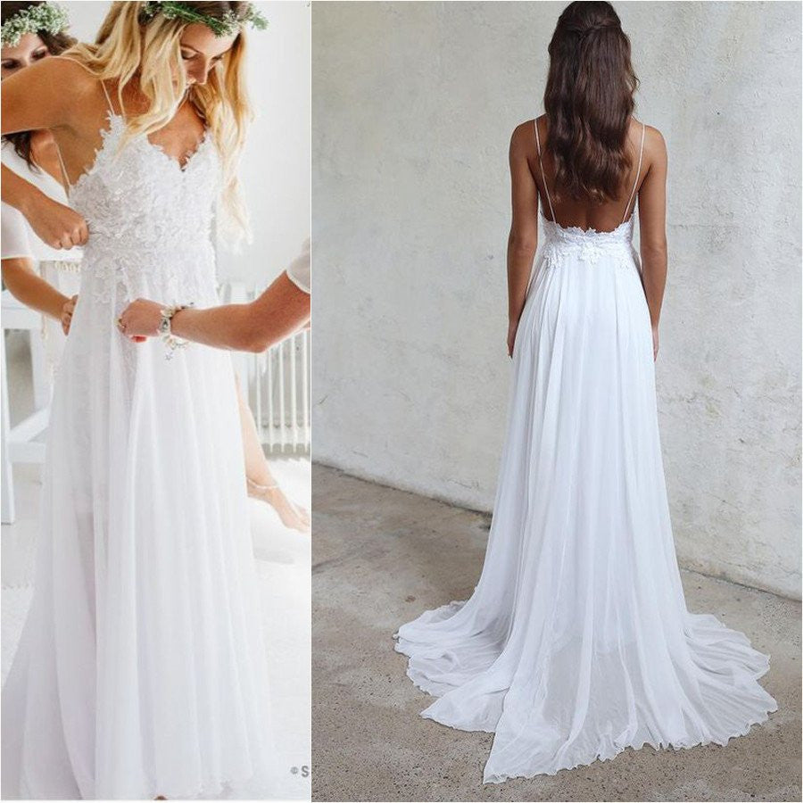 Shop Online Beach Wedding Dresses Cheap Wedding Dresses: Open Back White Lace Spaghetti Straps Beach Wedding Dress