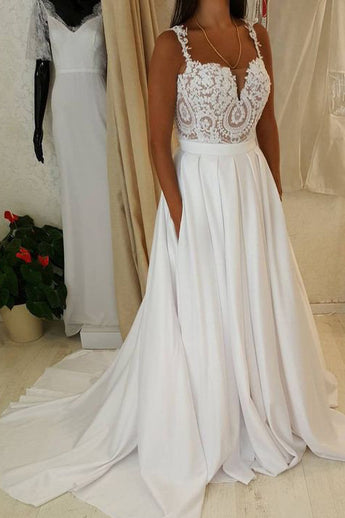 Spaghetti Straps Chapel Train Lace Bridal Gowns Wedding Dresses With Pocket LD355
