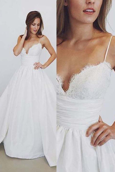 A Line Spaghetti Straps Lace V Neck High Quality Bridal Gowns Wedding Dresses LD356
