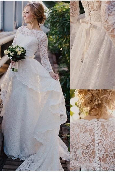 Chapel Train Long Sleeves High Neck Tiered Lace Wedding Dresses Bridal Gowns LD358