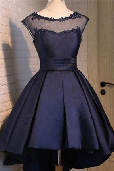 Navy Blue Cap Sleeves High Low Short Prom Dress Homecoming Dresses Party Gowns LD359