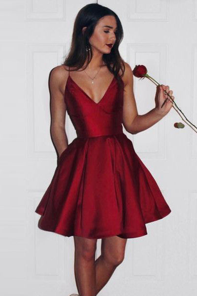 Burgundy Spaghetti Straps V Neck Elegant Short Prom Dresses Homecoming Dress LD360
