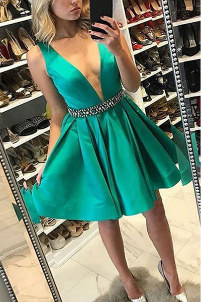 Deep V Neck Green Off the Shoulder Beaded Mini Length Prom Dress Homecoming Dresses LD361