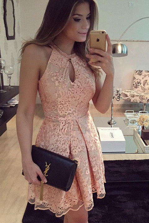 Halter Skin Pink Lace Mini Length Cheap Prom Dress Homecoming Dresses Party Gowns LD362