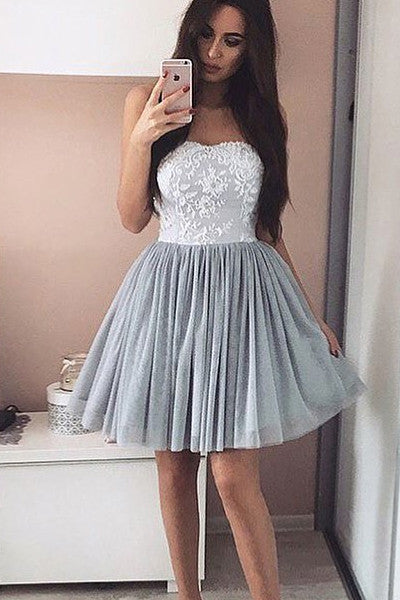 White Lace Silver Chiffon Strapless Short Cheap Prom Homecoming Dresses Party Gowns LD364
