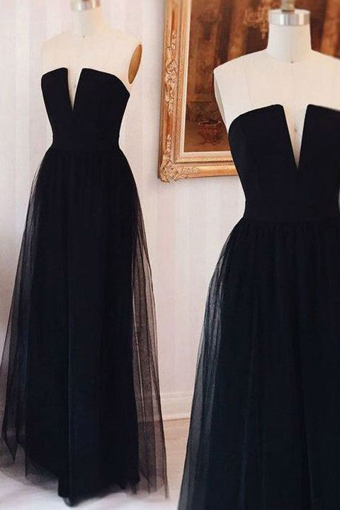 Elegant Black Tulle V Neck Long Prom Dresses Evening Quinceanera Dress LD365