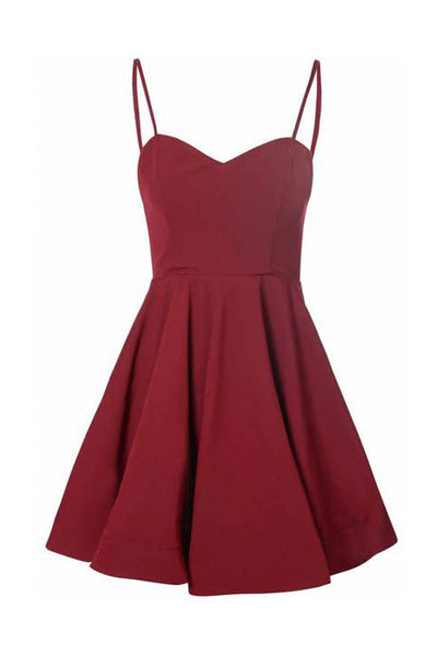 Burgundy Spaghetti Straps Short Prom Dress Simple Cheap Homecoming Dresses  LD368
