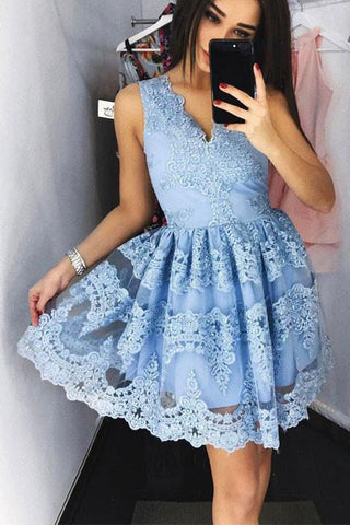 a23ccf7509c Light Blue Lace V Neck Off the Shoulder Short Prom Homecoming Dresses –  Laurafashionshop