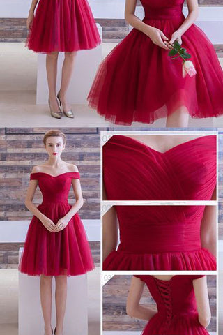 Off the Shoulder Cheap Short Prom Dress Homecoming Dresses Cocktail Gowns LD370