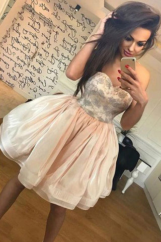 A Line Lace Sweetheart Short Cute Homecoming Dresses Prom Gowns Graduation Dress LD372
