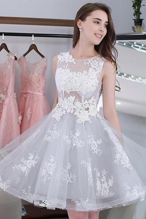 New Arrival White Lace Baby Blue Tulle Short Prom Dress Homecoming Dresses Gowns LD375