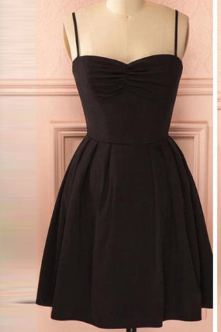 Spaghetti Straps Black Lace See Through Short Prom Dress Homecoming Dresses  LD377