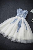 Light Blue Lace Sweetheart Short Homecoming Dresses Prom Gowns LD379