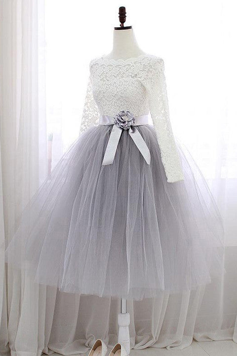 Ivory Lace Long Sleeves Short Ball Gown Prom Dresses Homecoming Dress For Graduation LD381