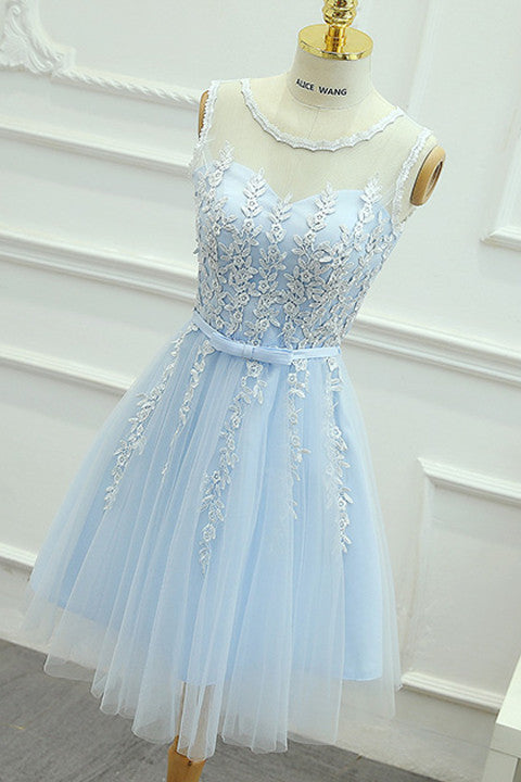 Light Blue Lace Tulle Short Prom Homecoming Dresses