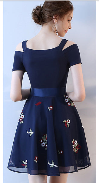 New Arrival Navy Blue Appliques Short Prom Gowns Homecoming Dresses Party Dress LD385