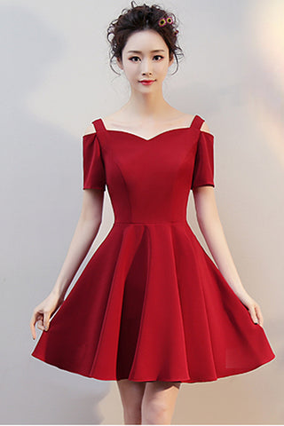Short Sleeves Burgundy Elegant Cheap Prom Dress Homecoming Dresses Party Gowns LD386