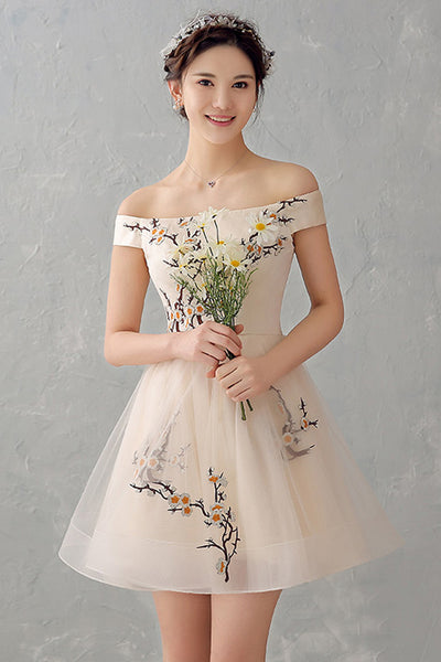 New Arrival Appliques Flowers Cheap Prom Homecoming Dresses Party Gowns LD387