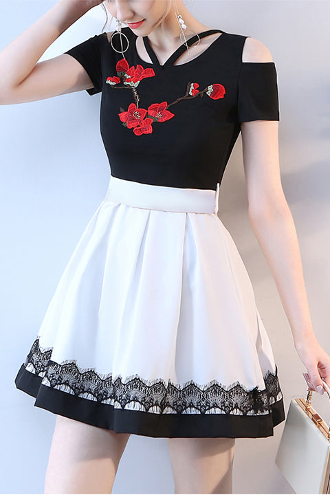 New Arrival Short Sleeves White/Black Appliques Prom Homecoming Dress Cocktail Dresses LD391