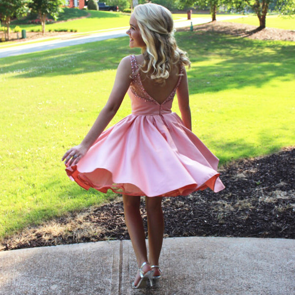 Off the Shoulder Beaded Open Back Short Prom Dresses Homecoming Dress LD392