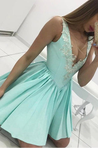 Mint Appliques Lace Off the Shoulder Short Prom Dresses Homecoming Dress LD393